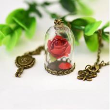 Кулон роза в колбе
